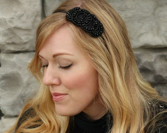Headband for Women, Black Beaded Headband for Adults and Women