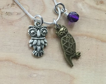 SALE- Owl Charm Necklace with purple accent bead- only 1 available