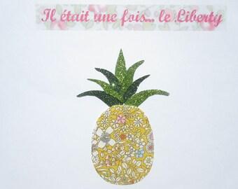 Appliqué thermocollant liberty ananas en tissu June Meadow jaune & tissus pailletés verts pineapple