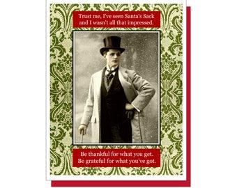Santa's Sack - Funny Holiday Card, Funny Christmas Card, Snarky Cards, Vintage/Retro
