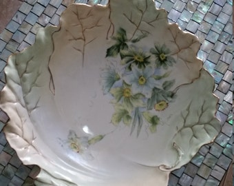 Hand Painted Leaf Shaped Serving Bowl.