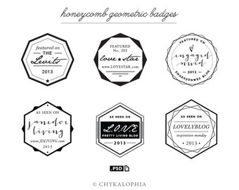 Honeycomb Geometric Badges PSD