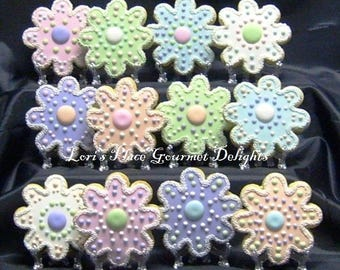 Flower Cookies - Beaded Flower Cookies - 12 Cookies