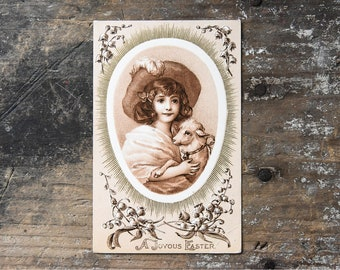Antique Easter Postcard, Spring Decor, Shepherdess and Lamb,  Vintage Ephemera, Collectibles, Nursery Decor, Baby Chicks Card