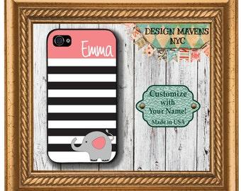 Personalized iPhone Case, Preppy Elephant Stripe Monogram iPhone, iPhone 8, 8 Plus, iPhone 7, 7 Plus, iPhone 6, 6s, 6 Plus, SE, iPhone 5, 5c