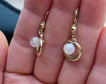 Solid 10K yellow gold genuine moonstone leverback earrings