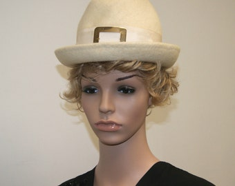 Vintage 50's 60's Ivory Winter White Mohair Angora Fur Hat by Angel Designs