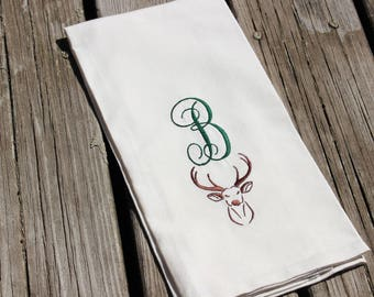 Housewarming Gift, Personalized Dish Towels Embroidered With Monogrammed Initial with Deer, Antlers for Cabin or Cottage