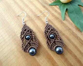 Hematite macrame earrings, macrame jewelry, gemstone earrings, hematite jewelry, gypsy earrings, micro macrame, hippie earrings