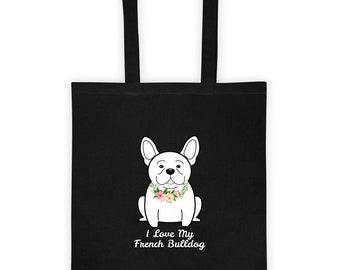 Flower Collar French Bulldog Tote bag - Frenchie Tote | Frenchie Gift | Frenchie Themed Gift | Love My Frenchie