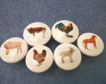 Farm Animals Knobs. Country Barnyard Decor. Cute For Your Kitchen Cabinet & Pantry Doors or Dresser Drawers. Available in 2 Sizes.