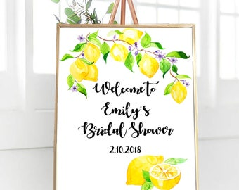 Lemon Bridal Shower Sign, Welcome Bridal Shower Sign, PRINTABLE Welcome sign, Bridal Brunch Sign, Bridal Tea Sign, Customized Wedding Sign