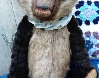 Handmade OOAK collectors bear, Soft plush, Vintage style, Bears, Animals, Eco friendly, Artist bear, Recycled, cherished,  Soft sculpture.