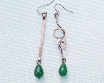 Emerald earrings Mismatched earrings Green earrings Copper wire wrapped jewelry long earrings Shamrock earrings girlfriend gift