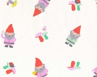 Hank and Clementine Fabric - Hank Michael Miller Fabric - Cotton Floral Fabric - 1 yard Grey Pink Mint Gnome Fabric - Gnome Mushroom Fabric