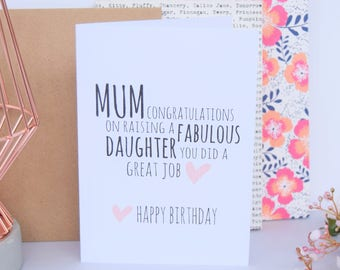 Mum Birthday Card   Fabulous Daughter   Mom Card   Mom Birthday Card   Card for Mum   Funny Mum Card   Birthday Card   Mum Gift   Mom Gift