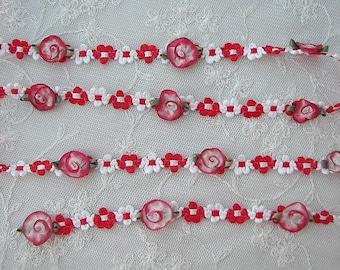 Red White Rococo Ribbon Trim w Rose Bud Flower Scrapbook Quilt