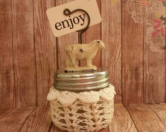 Spring assemblage jar,Antique sheep glass jar, Flashcard art