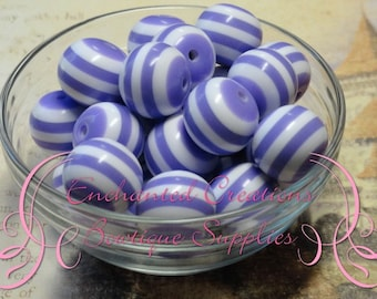 20mm Lavender and White Striped Beads Qty 10