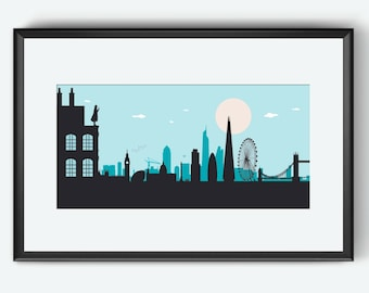 London Skyline, London art, London print, London poster, London UK, Sherlock Holmes inspired, Sherlock Holmes art, Sherlock Holmes poster