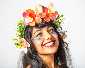 Peach flower headdress - Bespoke MayHem