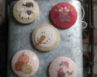 NEW! THISTLES Needle Friends counted cross stitch patterns at thecottageneedle.com needle nanny minder holder 2018 Nashville Market