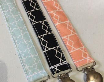 Set of three pacifier clips // baby pacifier clip // little girls binky holder // black coral light blue passy keeper // pacifier holder