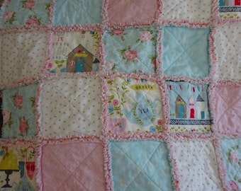 Rag Quilt, Rag Quilt Throw, Patchwork Quilt, Sofa Throw, Lap Throw, Wheelchair Blanket, Gift For Valentine's, Mothers Day Gift, Pink Blanket