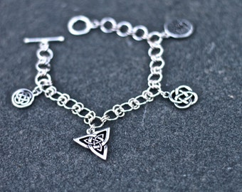 Silver Celtic Charm Bracelet with Multiple Celtic Charms