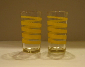 Vintage Set of Two Heavy Tumblers With Mod Yellow Swirls