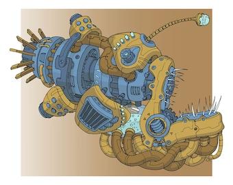 Robot Angler Fish Illustration Print