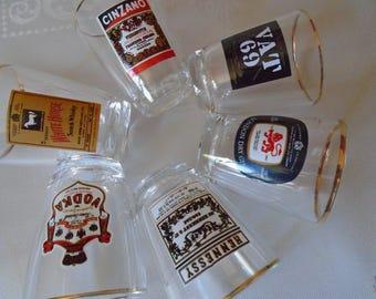 60's advertising spirit tot glasses