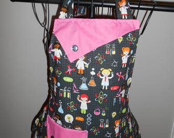 Girls in Chemistry/Science - Women's Apron - Ruffle - Pocket