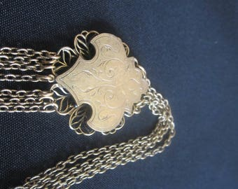 Very Old Art Nouveau Engraved Fringe Pendant Necklace-FREE SHIPPING (US)