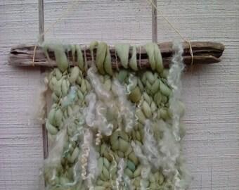 OOAK Knit and Driftwood Wall Hanging Art Handspun Yarn With Locks Sage Green White Living Room Decor Beach Sea