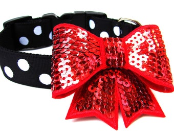 Dog Collar Bow Add-On Hot Pink, Light Pink, Red, Silver, Black
