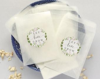 "100 Let Love Grow Seed Envelopes with labels Glassine Envelopes Wedding Favor Envelopes Greenery Seed Packets Wedding Decor 3.5/8x2.5/8"""