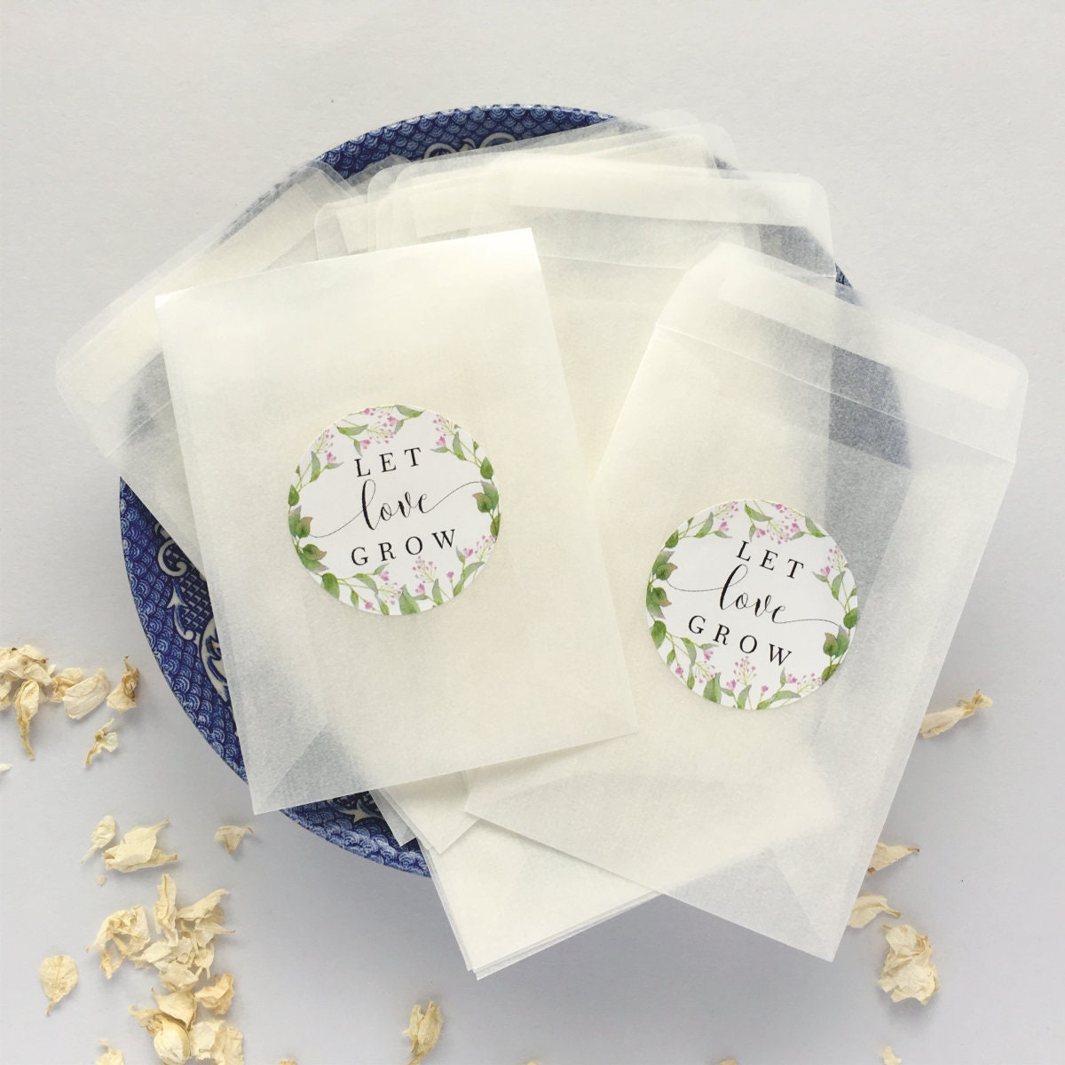 100 Let Love Grow Seed Envelopes with labels Glassine
