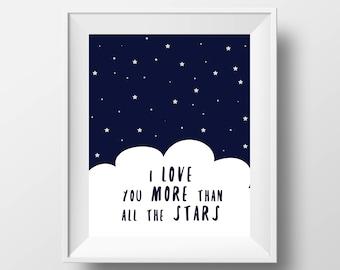 Nursery Art Print - 8x10'' - Stars Sky Art Print, Children wall art, nursery quote, typography - UNFRAMED