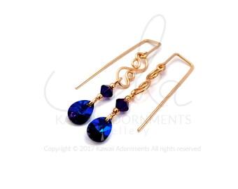 Gold dangle earrings, wire wrapped 14k Gold filled wire earrings, mini pear Swarovski Crystal earrings by Kawaii Adornments