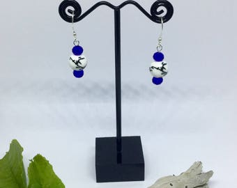Asian inspired blue white and black earrings