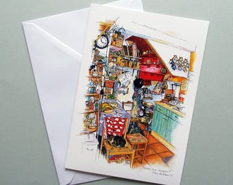 A5 Greetings Card, Kitchen Illustration, Kitchen Interior, Foodie Card, Cat Lover Card, Blank Inside, Card for Cook, Chef Card, Art Card
