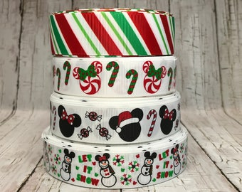 """7/8"""" - 1""""  Christmas Holiday Let it Snow Minnie Mickey Snowman Candy Cane Stripe Hats Red White Green Grosgrain Ribbon - Sold by 5 Yards"""