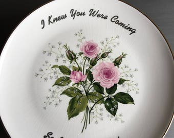 """Cake Stand Cardinal China CC81 """"I Knew You Were Coming So I Bought A Cake"""" 22 K Gold USA Vintage Pedestal Plate - #D2281"""