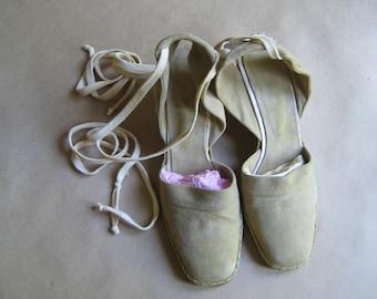 Beige Suede Wedge Heels Ankle Tie Strings