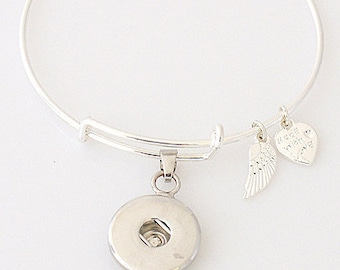 Wire Adjustable Wire One Button Noosa Charm Chunk Bracelet