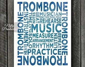 Trombone Art - INSTANT DOWNLOAD Trombone Print - Trombone Player - Trombone Poster - Trombone Gifts - Music Gifts - Trombone Wall Art