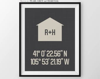 Latitude Longitude Print Personalized House Coordinate Print Custom Gift for Couples Anniversary Housewarming Gift for Couple Newlywed Gift