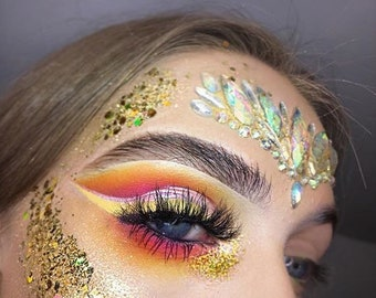 Gold Rush Mix Glitters For Face & Body | Festival And Party Chunky Glitter Face Jewels | Beauty Makeup Accessories Holiday Birthday | Gift