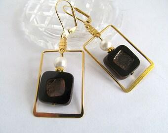 Art Deco Earrings, Gold Earrings, Czech Glass Beads, Black Picasso, Geometric Earrings, Black Earrings, Avant Garde Earrings, FTD Awareness
